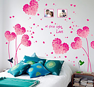 abordables -Saint Valentin rose violet beau coeur pissenlit cadre photo citations stickers muraux amovibles pvc art stickers décoration de la maison