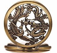 abordables -montres de poche mécaniques pour hommes, dragon porte-bonheur et phénix, montre de poche squelette avec chaîne