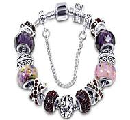 abordables -bracelet à breloques argenté avec cristal violet et perles de verre de murano chaîne serpent pour femme& filles