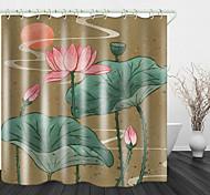 abordables -Vintage lotus impression de fond en tissu imperméable rideau de douche pour salle de bain décor à la maison couvert de rideaux de baignoire doublure comprend avec crochets