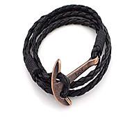 abordables -40 cm PU cuir hommes bracelet bijoux espoir ancre bracelet bracelet wrap charme bracelet pour hommes accessoires manchette à la main