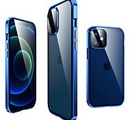 economico -telefono Custodia Per Apple Integrale Custodia ad adsorbimento magnetico iPhone 12 Pro Max 11 Pro Max A calamita Trasparente Protezione per obiettivo della fotocamera Transparente Tinta unita Vetro