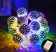 abordables -guirlande étanche extérieure à énergie solaire lanterne orb bricolage boule marocaine lampe à bande multicolore 10m 100led globe 8 modes guirlandes de fées éclairage pour la fête de mariage de patio