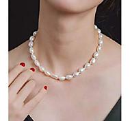 """abordables -Collier de perles de culture d'eau douce baroques blanches 9-10 mm 18 """""""
