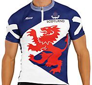 abordables -21Grams Homme Manches Courtes Maillot Velo Cyclisme Spandex Bleu / blanc Dragon Couleur unie Écosse Cyclisme Maillot Sommet VTT Vélo tout terrain Vélo Route Résistant aux UV Séchage rapide Respirable
