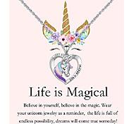 economico -collana unicorno per bambine donne argento unicorno ciondolo cuore gioielli regali di compleanno per figlia nipote nipote