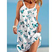 economico -Per donna Abito con bretelline Mini abito corto Bianco Viola Verde Senza maniche Farfalla Animali Con stampe Estate A V Casuale 2021 S M L XL XXL