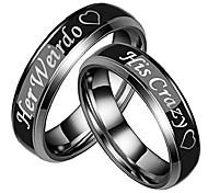 """economico -1pc suo&il suo paio di anelli da 6 mm, in acciaio inossidabile nero """"her weirdo"""" e """"his crazy"""" ring men size 8"""
