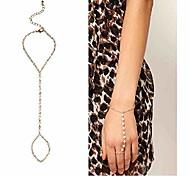 abordables -Bracelet de bague en perles Bracelet d'esclave en perles Chaîne à la main en or Bijoux de tous les jours pour femmes et adolescentes (or)
