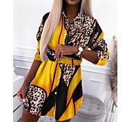 abordables -Femme Robe Chemise Robe Longueur Genou Jaune Kaki Vert Manches Longues Imprimé Automne Hiver Simple 2021 S M L XL XXL 3XL