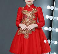 abordables -Enfants Petit Fille Robe Fleurie Animal Brodée Rouge Mi-long Manches Longues Chinoiserie Le style mignon Robes Le Jour des enfants Standard