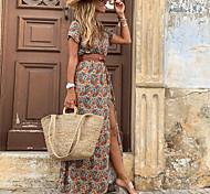 economico -Per donna Vestito svasato Vestito maxi Rosso Marrone Manica corta Con stampe Spacco Con balze Pulsante Primavera Estate A V Vintage ▾ 2021 S M L XL XXL 3XL