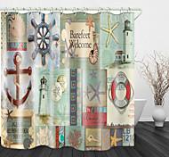 abordables -Rideau de douche en tissu imperméable imprimé ancre vintage pour salle de bain décor à la maison