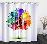 abordables -Aquarelle petit arbre imprimé rideau de douche en tissu imperméable pour salle de bain décor à la maison rideaux de baignoire couverts doublure comprend avec crochets