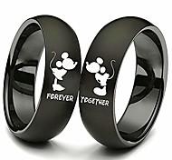 economico -anello coppia anello in acciaio al titanio bacio per sempre insieme promettono fede nuziale donne nere