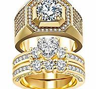 economico -2 anelli per lui e per lei coppia di anelli da sposa set di fedi nuziali da donna in oro giallo con cuore pieno cz