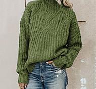 economico -Per donna Stile vintage Lavorato a maglia Tinta unica Maglione Manica lunga Maglioni cardigan A collo alto Autunno Inverno Nero Blu Rosa