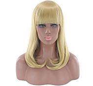 abordables -Perruque Synthétique Droit Bouclé Coupe Droite Perruque Longueur moyenne Blond Cheveux Synthétiques Femme Doux Frais Blond