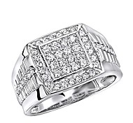 abordables -anneaux de petit doigt pour homme bande de diamant en or 10 carats forme carrée 1 ct (or blanc, taille 11,5)
