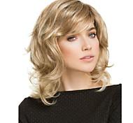 abordables -Perruque Synthétique Bouclé Coupe Asymétrique Perruque Longueur moyenne Blond Cheveux Synthétiques Femme Doux Confortable Duveteux Blond