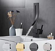 economico -rubinetto del lavandino del bagno - set centrale elettrolitico girevole / cascata maniglia singola un rubinetti per il bagno in oro, nero, argento