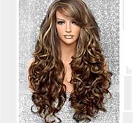 abordables -Perruque Synthétique Ondulation naturelle Coupe Asymétrique Perruque Longue Blond Cheveux Synthétiques Femme Doux Dégradé de Couleur Cheveux Colorés Blond Marron