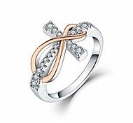 economico -Anello infinito croce in argento sterling 925 con zirconi cubici, anelli di fidanzamento per matrimonio infinito da donna in oro rosa