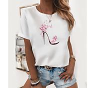 abordables -T-shirt Femme Quotidien Sans Doublure Fleurie Bande dessinée Imprimés Photos Manches Courtes Imprimé Col Rond Hauts Standard Haut de base basique Blanche