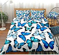 abordables -ensemble de housse de couette 3 pièces à imprimé papillon bleu ensembles de literie d'hôtel housse de couette avec microfibre douce et légère pour la décoration de la chambre (comprend 1 housse de