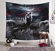 abordables -Tapisserie murale art décor couverture rideau suspendu maison chambre salon décoration polyester fibre animal peint loups wuyun lanting conception