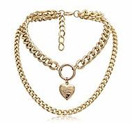 economico -collane girocollo in oro grosso ciondolo a cuore girocollo semplice catena gioielli per donne e ragazze (oro)