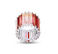 economico -Anello arcobaleno con pietre preziose create aaa multicolore placcato oro bianco 18 carati con taglio smeraldo taglia 7