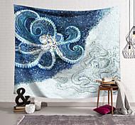 abordables -tapisserie murale art décor couverture rideau suspendu maison chambre salon décoration polyester fibre animal peint bleu et blanc pieuvre lanting conception