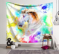 abordables -Tapisserie murale art décor couverture rideau suspendu maison chambre salon décoration polyester fibre animal peint blanc cheval lanting conception