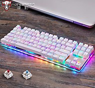 abordables -Motospeed k87s clavier mécanique de jeu USB filaire 87 touches avec rétro-éclairage RVB interrupteur rouge / bleu pour pc ordinateur gamer