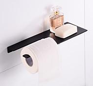 abordables -porte-papier hygiénique en acier inoxydable nouveau plateau design porte-rouleau de papier étagère de salle de bain mural noir mat 1 pc