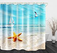 abordables -mouette sur la plage imprimé rideau de douche en tissu imperméable pour salle de bain décor à la maison rideaux de baignoire couverts doublure comprend avec crochets