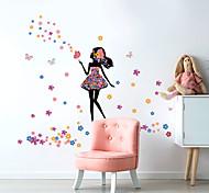 abordables -belle fille papillon fleur maison fond enfants chambre décoration de fond peut enlever l'autocollant 57,5 * 28,5 cm