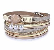 abordables -bracelet en cuir pour femme, bracelets de manchette en perle baroque bracelet multicouche bracelets faits à la main bijoux cadeau bohème pour femme, adolescente, mère (gris)