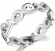 abordables -bague de mariage éternité en forme de coeur noeud celtique en acier inoxydable (argent, 7)