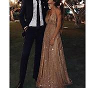 abordables -Trapèze Étincelant Sexy Invité de mariage robe ceremonie Robe Col en V Sans Manches Longueur Sol Pailleté avec Paillette 2021