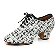 abordables -Femme Chaussures Latines Chaussures Modernes Talon Talon épais Blanche Noir Lacet Adulte