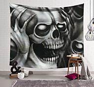 abordables -tapisserie murale art décor couverture rideau suspendu maison chambre salon décoration fibre de polyester nouveauté nature morte noir et blanc crâne gris crâne mains tenant la tête p
