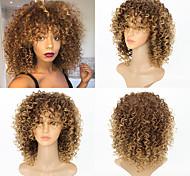 abordables -Perruque Synthétique Kinky Curly Très Frisé Perruque Moyen Blond Cheveux Synthétiques Femme Mèches Colorées / Balayées Blond