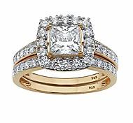economico -Anello da sposa aureola in oro giallo 18 carati su argento sterling taglio princess con zirconi cubici, misura 9