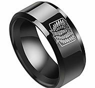 abordables -Anneau en acier inoxydable d'anime pour hommes Ailes de régiment de scout Bague de doigt gravée Bijoux de mode avec chaîne cadeaux de fans d'anime (# 10 noir)