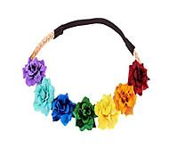 abordables -bandeau fleur boho couronnes florales couronne de cheveux pour filles diadème hippie fée cosplay (arc en ciel)