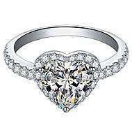 economico -anelli in lega per le donne, squisita anello a cuore anelli di fidanzamento per matrimoni accessori per gioielli regalo per le donne da sposa (argento, 5)