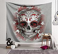 abordables -Tapisserie murale art décor couverture rideau suspendu maison chambre salon décoration polyester fibre nature morte crâne gris bizarre avec motif rouge