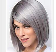 abordables -Perruque Synthétique Droit Coupe Asymétrique Perruque Longueur moyenne Grise Cheveux Synthétiques Femme Doux Classique Confortable Gris foncé
